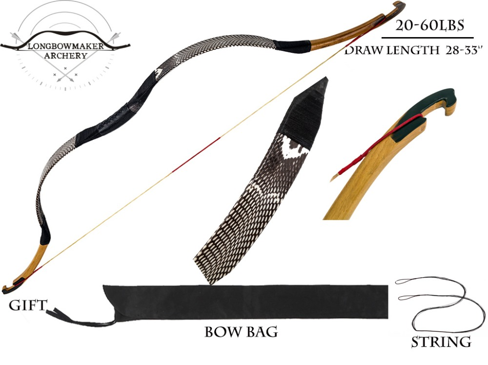 LongbowMaker 20-80 lbs Ali Bow Cobra Snakeskin With Ox horn Traditional Handmade KaiYuan bow Longbow Archery Hunting bows longbowmaker black shadow korean style korean bow 15 60lbs maple laminated longbow horsebow