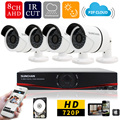 SUNCHAN 8CH CCTV System 1080N AHD DVR 4PCS 720P IR Weatherproof Outdoor Camera Home Security System Surveillance Kits 1TB HDD