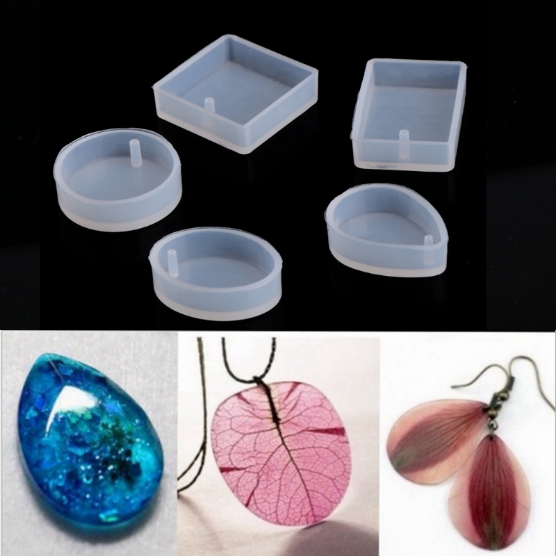 5pcs DIY Silicone Resin Mold Craft Mold For Resin Necklace Jewelry Pendant Making Jewelry Tools Uv Resin