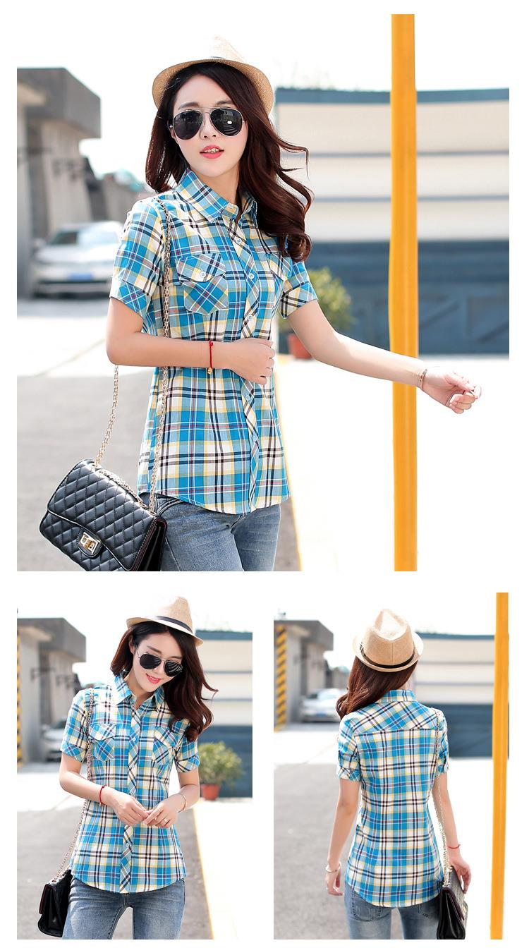 HTB1tTLzJFXXXXcMaXXXq6xXFXXXL - New 2017 Summer Style Plaid Print Short Sleeve Shirts Women
