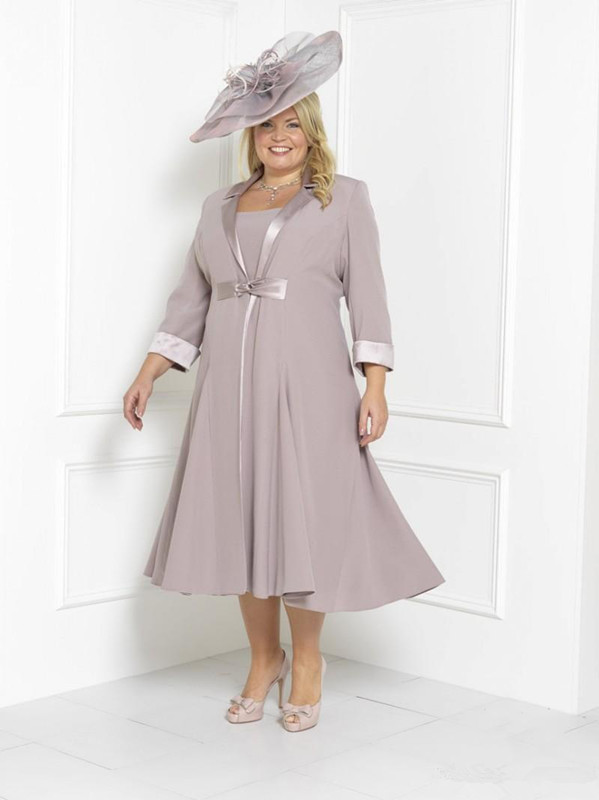 Plus Size 2019 Mother Of The Bride Dresses A-line Chiffon Tea Length With Jacket Formal Groom Short Mother Dresses For Wedding