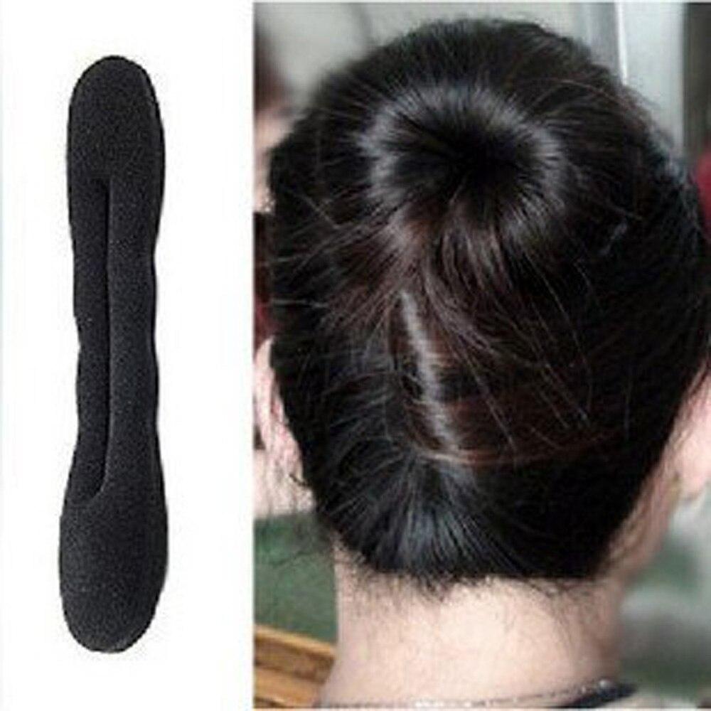 High Quality Black Magic Foam Sponge Clip Hair Styling Donut Bun Former Maker Roll Twist Made
