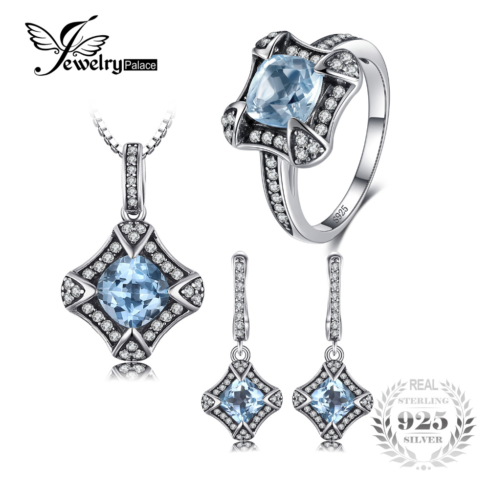 JewelryPalace Vintage 5.8ct Genuine Sky Blue Topaz Dangle Earrings Pendant Necklace Ring Jewelry Sets 925 Sterling Silver Chain