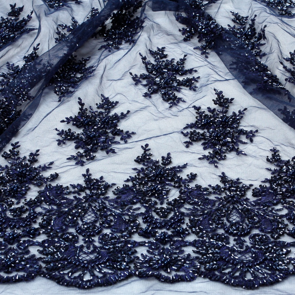 La Belleza 1yard heavy handmade beaded lace fabric deep blue royal blue wine ivory gray wedding
