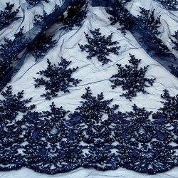 لا بيليزا 1 ياردة الثقيلة اليدوية مطرز أقمشة الدانتيل الأزرق العميق/الأزرق الملكي/النبيذ/العاج/رمادي فستان من نسيج الدانتيل 49 ''العرض