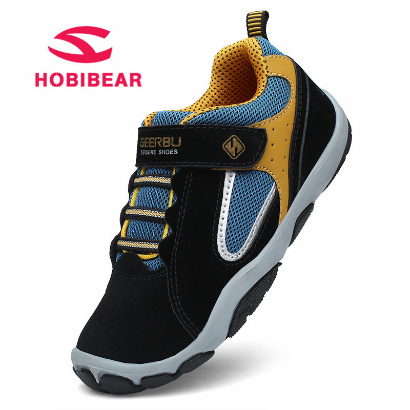 HOBIBEAR Children Shoes For Girls Flat Running Kids Sneakers Boys Breathable Mesh Tennis Sneakers Soft Leather Sport Shoes 2018