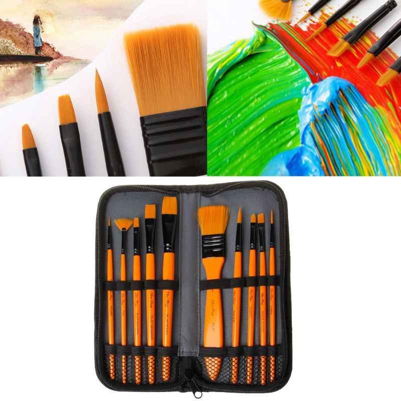 6pcs Artist Paint Brushes Set Nylon Oil Watercolour Painting Craft Art Brush Kit