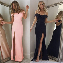 Summer New Arrival Off Shoulder Sexy Black Pink Dress 2019 Split The Fork Women Elegant Slash Neck long Vestido
