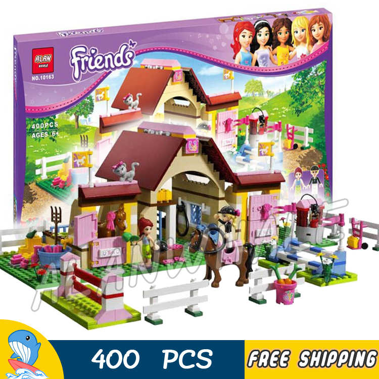 400pcs Friends Heartlake City Stables Mia Farm Horse 10163 Model Building Blocks Assemble Children Toys Compatible With LegoING