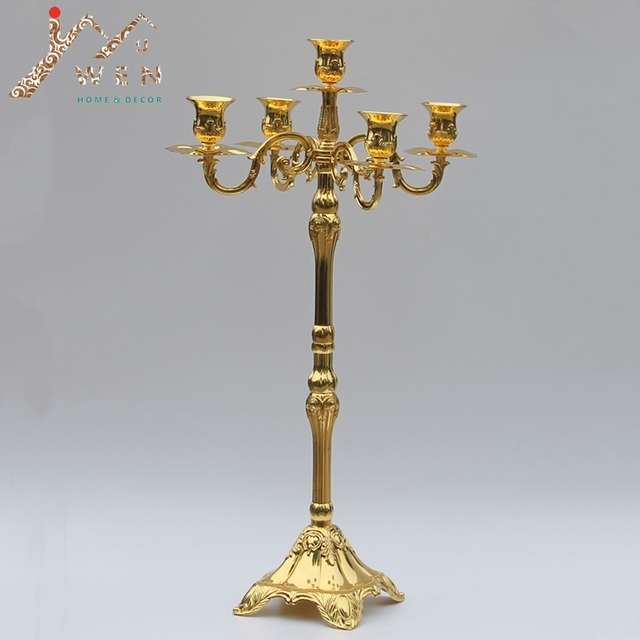 Modern Golden Plated 5 Arms Floor Candelabra 63cm Height Wedding Candle Holder Centerpiece