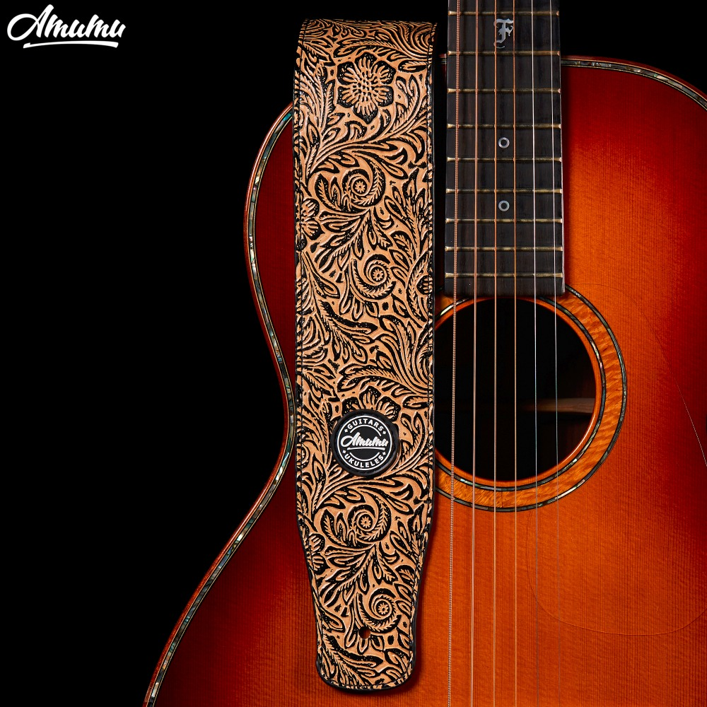 Amumu Embossed PU leather Guitar Strap Acoustic Electric Guitar and Bass Belt 130-150 cm S511 amumu traditional weaving patterns cotton guitar strap for classical acoustic folk guitar guitar belt s113