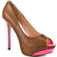 Deep Brown Platform High Heels Stilettos Slip-ons Women Pumps Spring Autumn Style OL Shoes Women Ladies Pumps Made-to-order