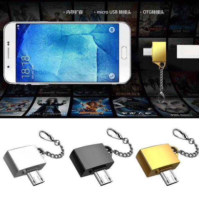 Logam Micro USB Male Ke USB 2.0 Female OTG Converter Adaptor dengan Gantungan Kunci Ponsel Adaptor Aksesoris