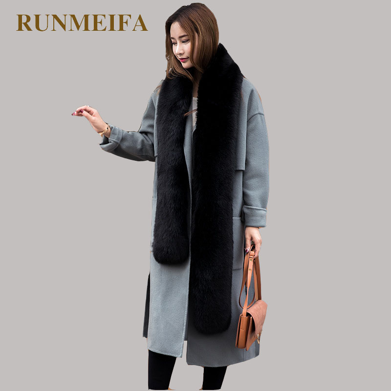 [RUNMEIFA] Fox Fur winter Scarf Women Ne