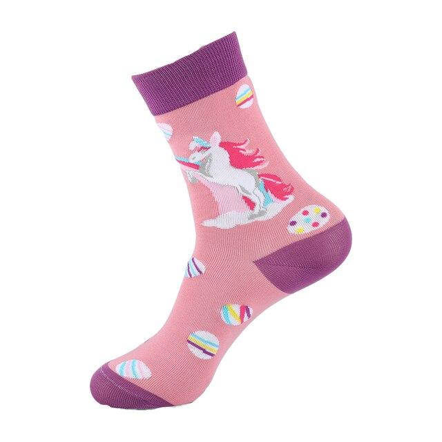 YEADU Renkli Kadın ve Erkek Çorap Harajuku Streetwear Komik Sevimli Karikatür Unicorn penguen hippo çörek Kore Tarzı Kız Sanat Çorap