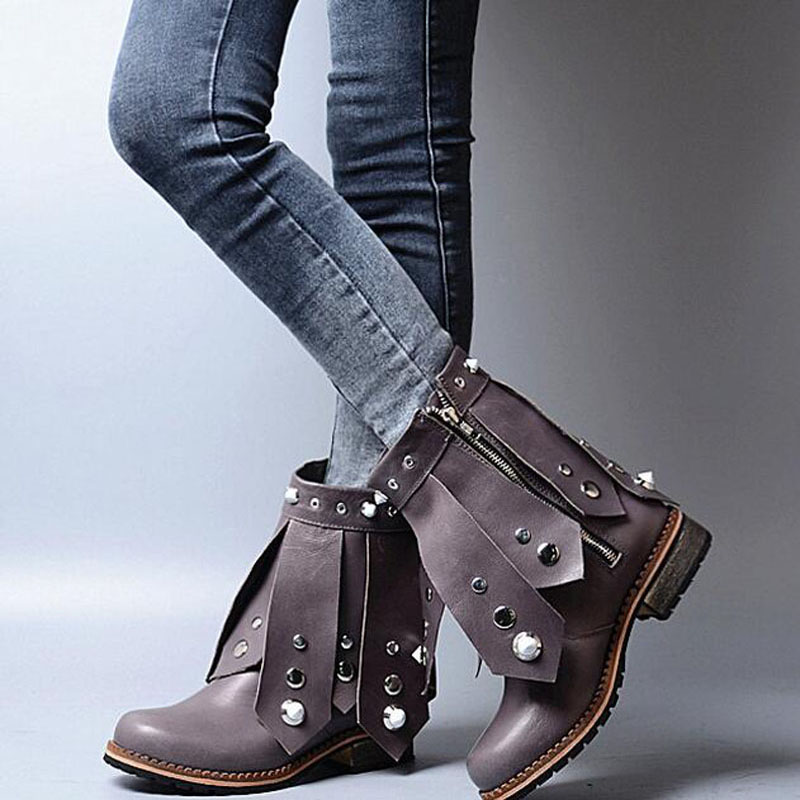 Vintage Round Toe Low Heel Booties Mujer Multi Rivets Embellished Ankle Boots Motorcycle Boot Party Vocation Dress Shoes Women vinlle women boot square low heel pu leather rivets zipper solid ankle boots western style round lady motorcycle boot size 34 43