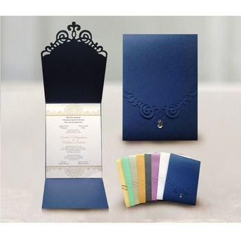 free shipping 50pcs/lot muti colors rhinestone decorated Personalized invitation  limited volume with special offer