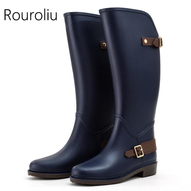 Rouroliu/женские непромокаемые сапоги до колена, Нескользящие высокие резиновые сапоги с пряжкой, непромокаемые женские резиновые сапоги, боль...