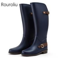 Rouroliu Women Knee-high Rain Boots Non-slip Tall Buckle Rainboots Waterproof Water   Shoes   Woman Wellies Large Shaft ZM13
