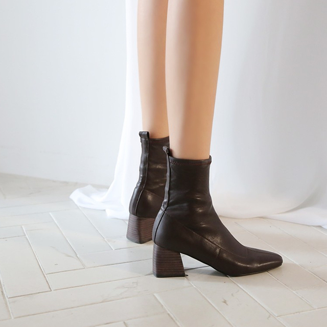 2019 autumn and winter new boots women's high-heeled elastic boots large size boots