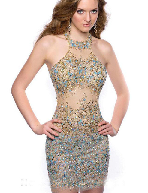 ad175e9ab19 Hot Tight Short Homecoming Dresses 2015 Sequins High Neck Prom Dresses  Sheer Homecoming Graduation Dresses for High School