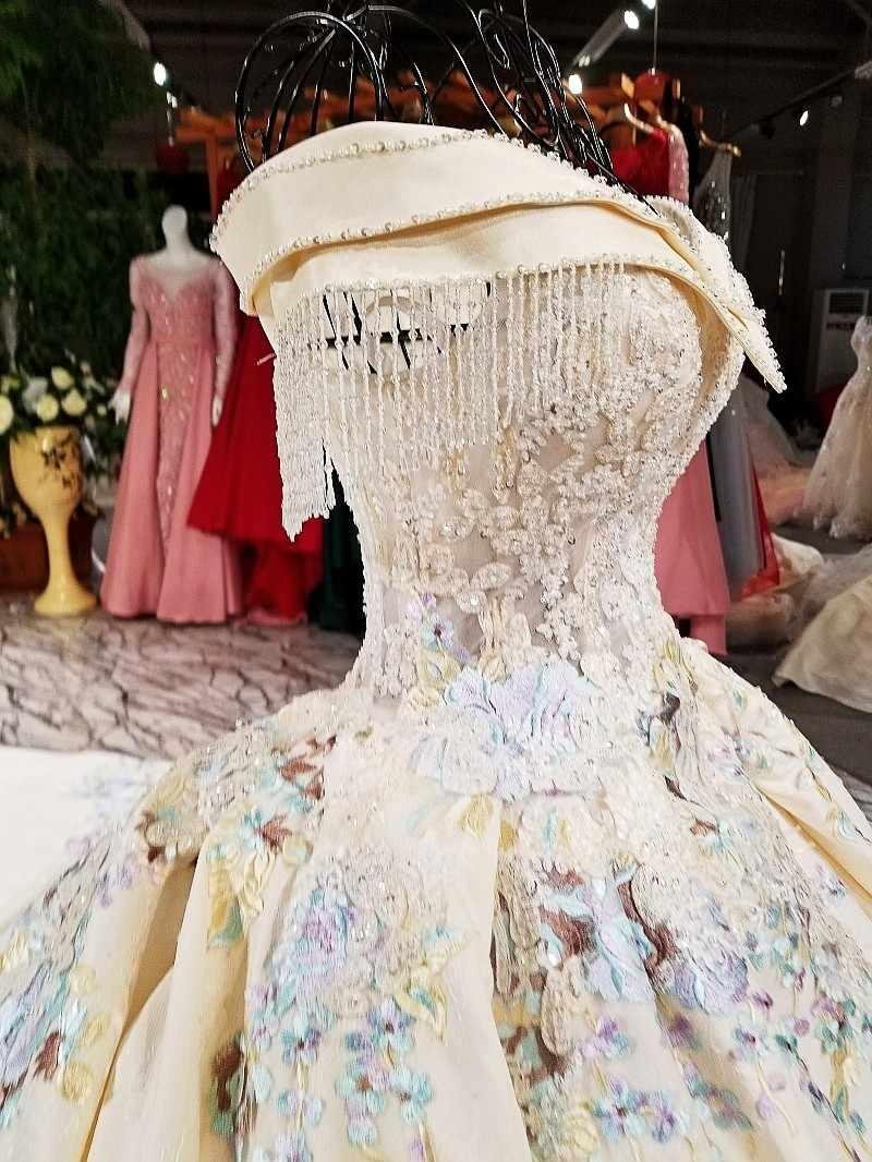 2018 חתונה שמלות עבודה אמיתית תמונה יוקרה קריסטל שמלות כלה חרוזים Sheer שרוולים גבישי תחרה כלה שמלות