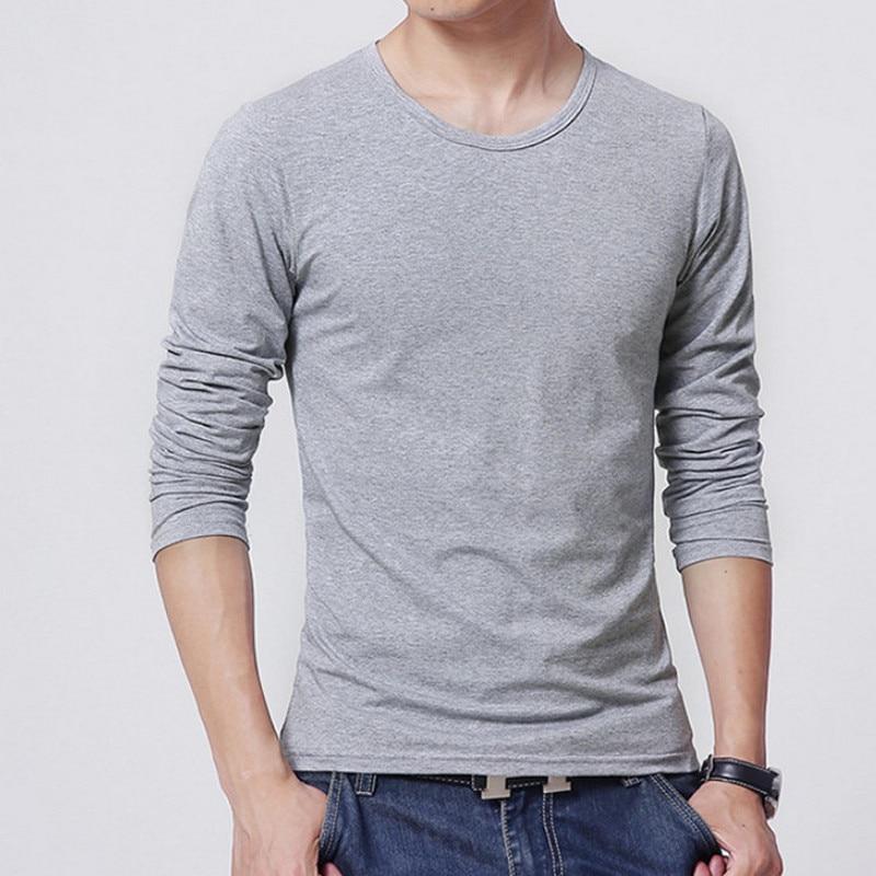 2018 Autumn New T SHIRT Men, Ultra Low Price Long Sleeved Men's T-shirt, Men's Round Neck Pure Color T-shirt Size S - 3XL