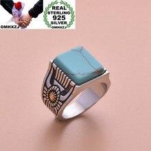 OMHXZJ europea al por mayor de moda de mujer de moda de fiesta de cumpleaños, regalo de boda Vintage cuadrado turquesa anillo de Plata de Ley 925 RR1015
