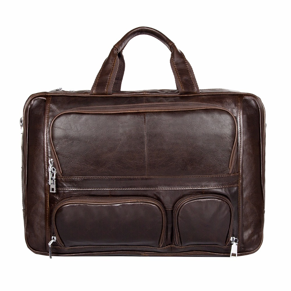 100% Genuine Vintage Leather Men's Briefcase Laptop Bag Big Size Hand Business Bag Coffee # 7289C