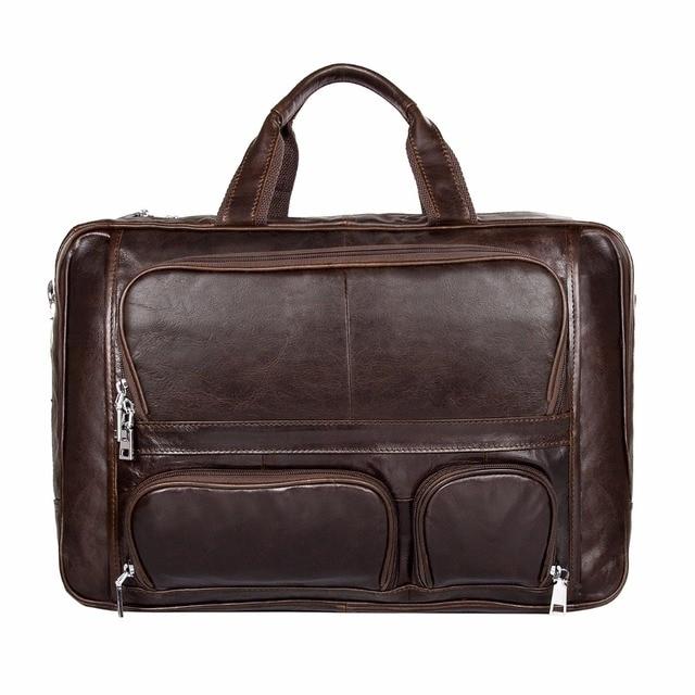 100% Genuine Vintage Leather Men's Briefcase Laptop Bag Big Size Hand Business Bag Coffee # 7289C
