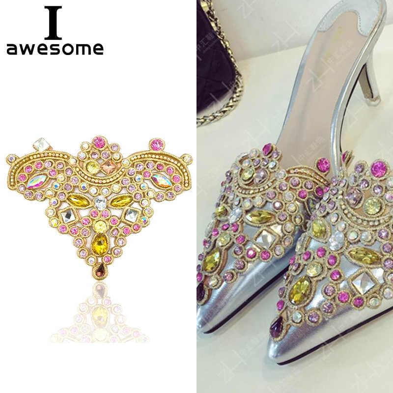 df0f6c8bc7 1pcs Beautiful Flower Bridal Wedding Party Shoes Accessories High Heels  Shoes DIY Manual Rhinestone Shoe Decorations 12*10cm