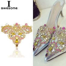 1pcs Beautiful Flower Bridal Wedding Party Shoes Accessories High Heels DIY Manual Rhinestone Shoe Decorations 12*10cm