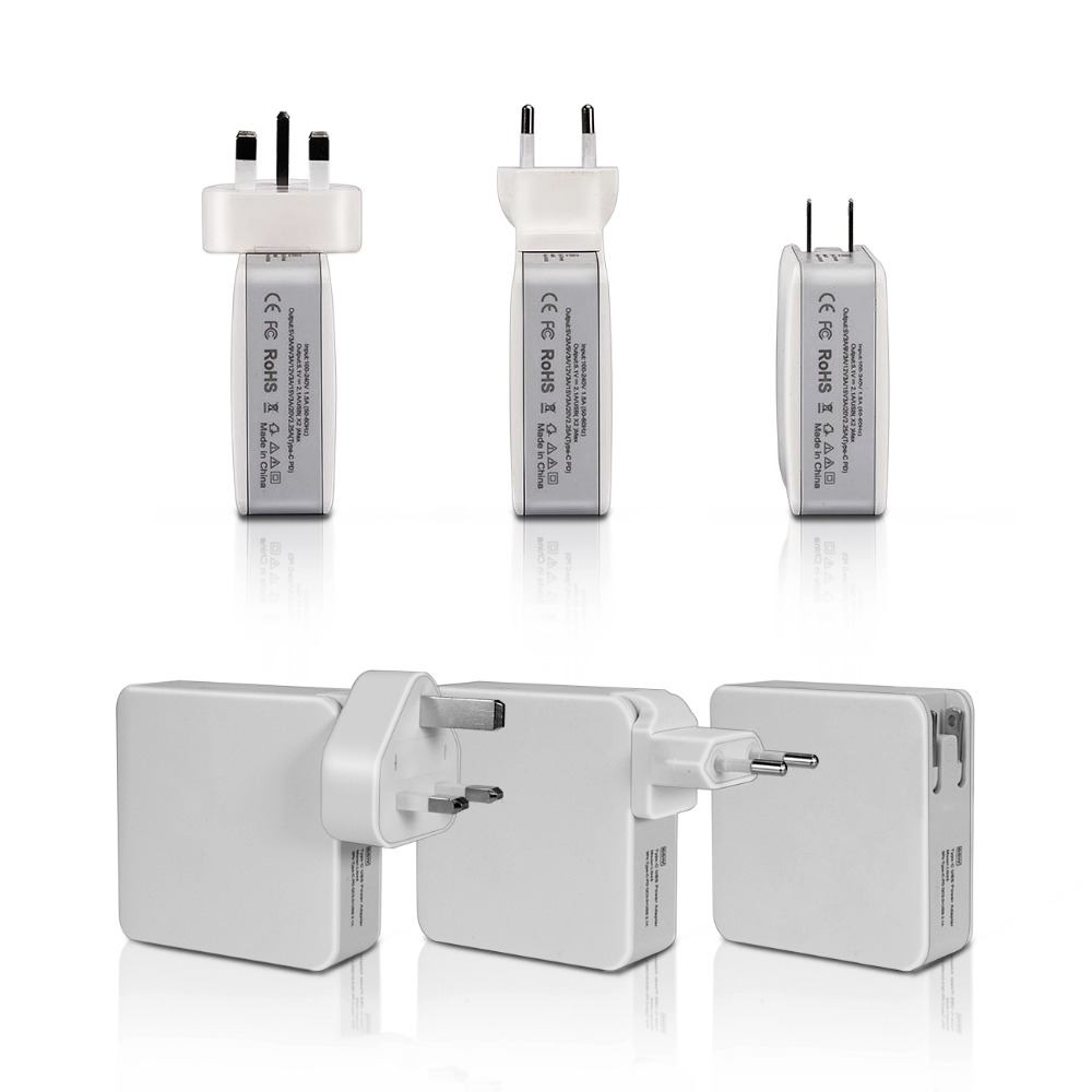 EU UK US Plugs 65W Travel Wall Charger Type-C 3USB Port Ac Power Adapter For Smart Phones For Tablet Pc For Macbook orico dsp 4u 4 port usb wall charger for smartphone tablet ac 100 240v