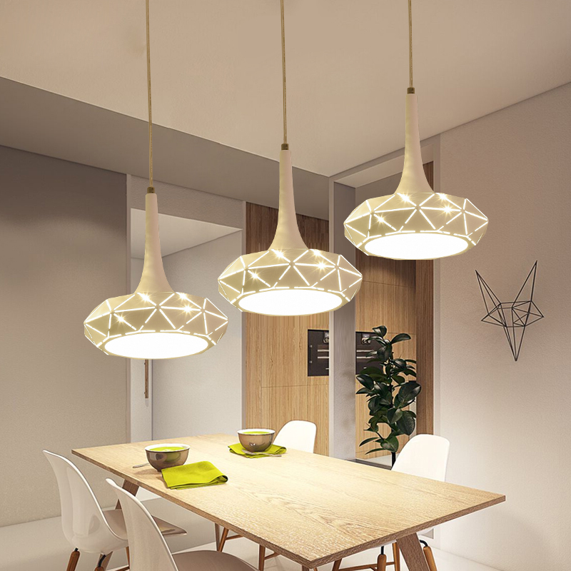 Long Dining Room Chandeliers: Nordic Creative Hollow Chandeliers 3 Long Disk Disc Modern