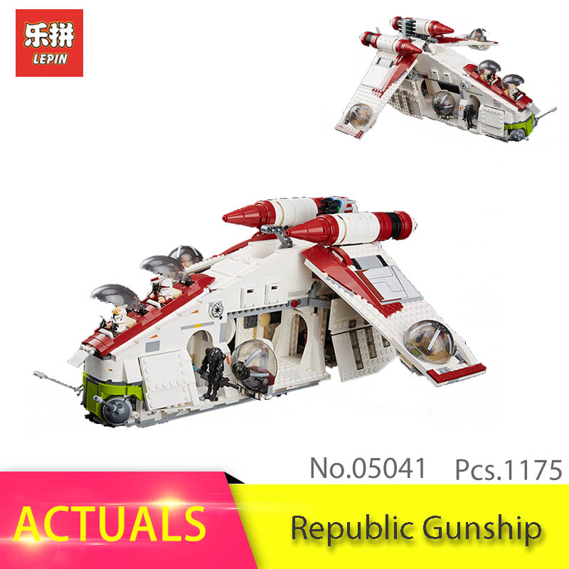 Lepin Star Series Wars 1175pcs 05041 The Republic Gunship Model Building Block Brick Toys For Children 75021 Birthday Gift