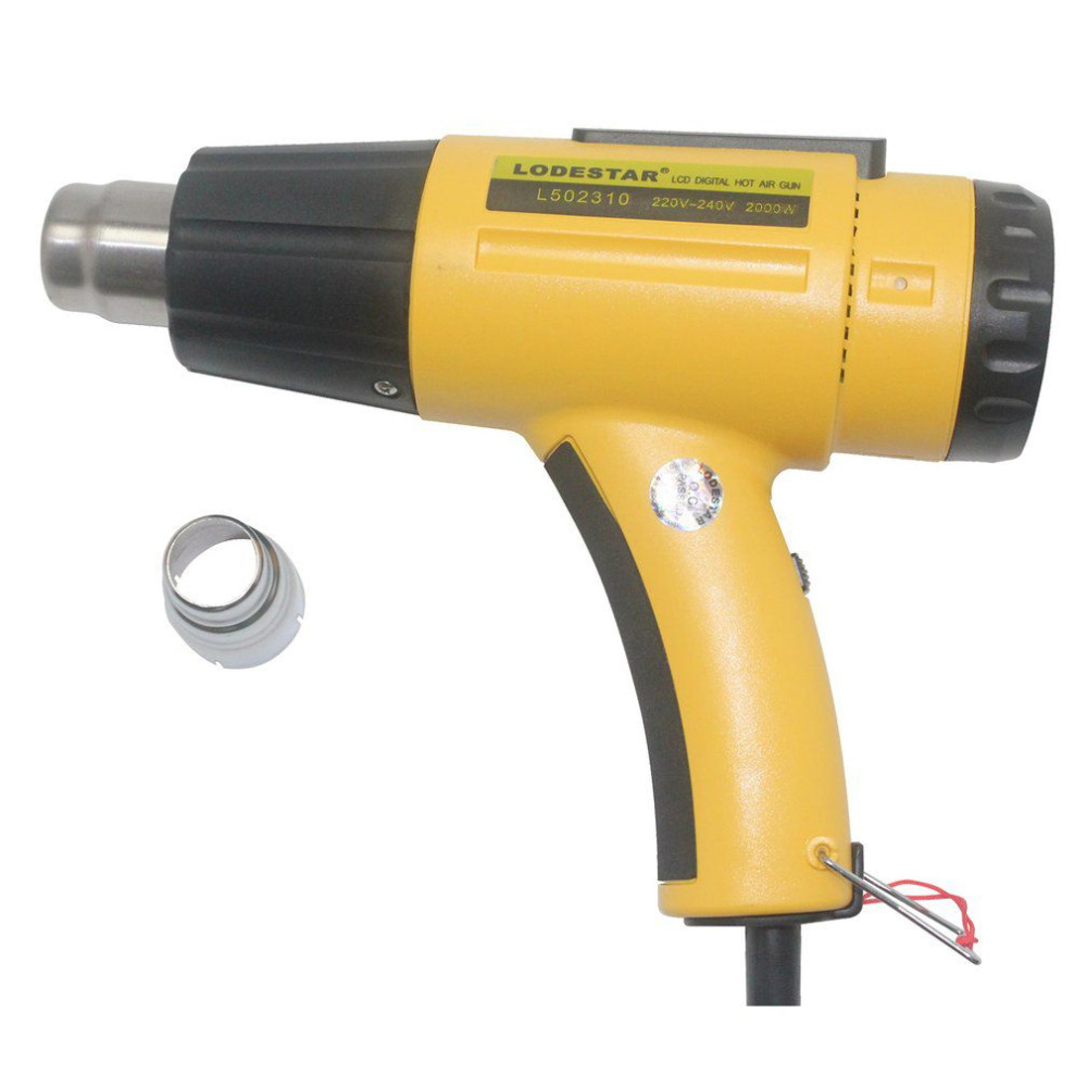 LODESTAR 2000W Electric Hot Air Heat Gun Tool + Nozzle Temperature Adjustable Hand Held Paint Stripper Air Blower 220V heat gun 2000w 220v temperature adjustable temperature industrial electric hot air gun