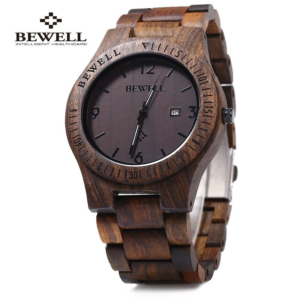 Bewell ZS-W086B Luxury Brand Wood Watch Men Analog Quartz Movement Date Waterproof Male Wristwatches Relogio Masculino