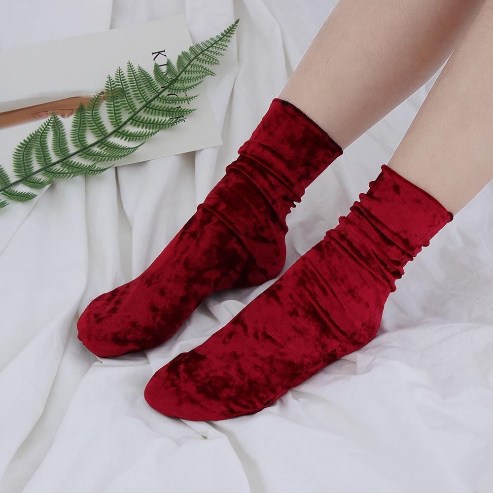 1Pair Fashion Women Girls Casual Velvet Socks Soft Vintage Retro Luxury Shiny Hosiery Winter Warm Short Socks Hipster