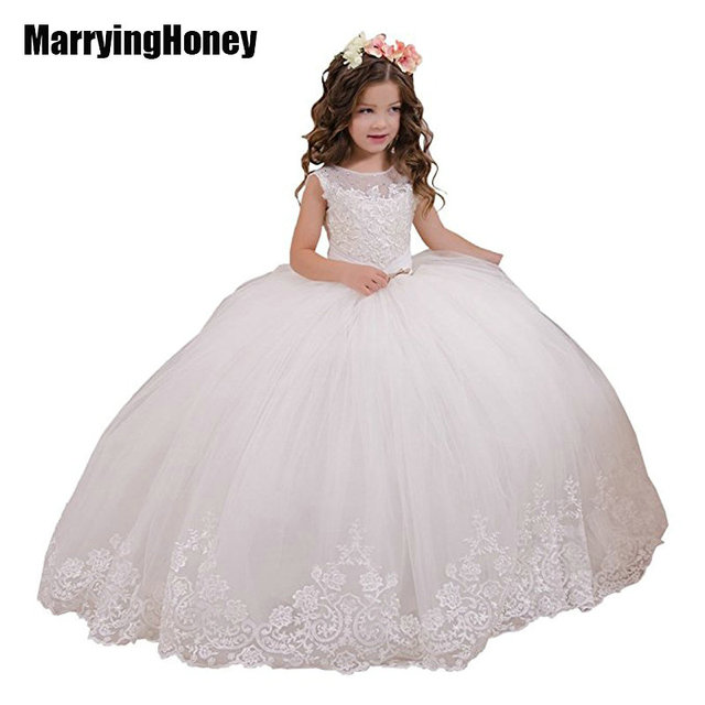 6ed68f58038b Pageant Dresses for Girls Communion Party Flower Girl Dress Lace ...