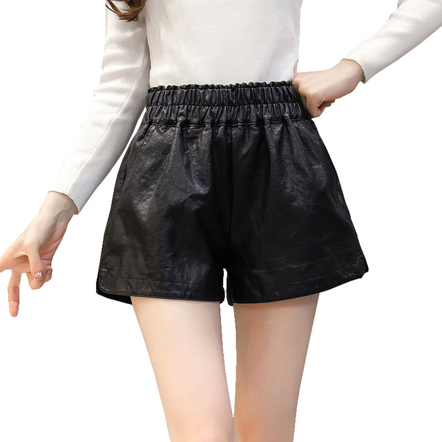 95943e2dc7 Black Casual faux leather shorts for women plus size elastic high waist  short pants with pocket slim wide leg shorts feminino