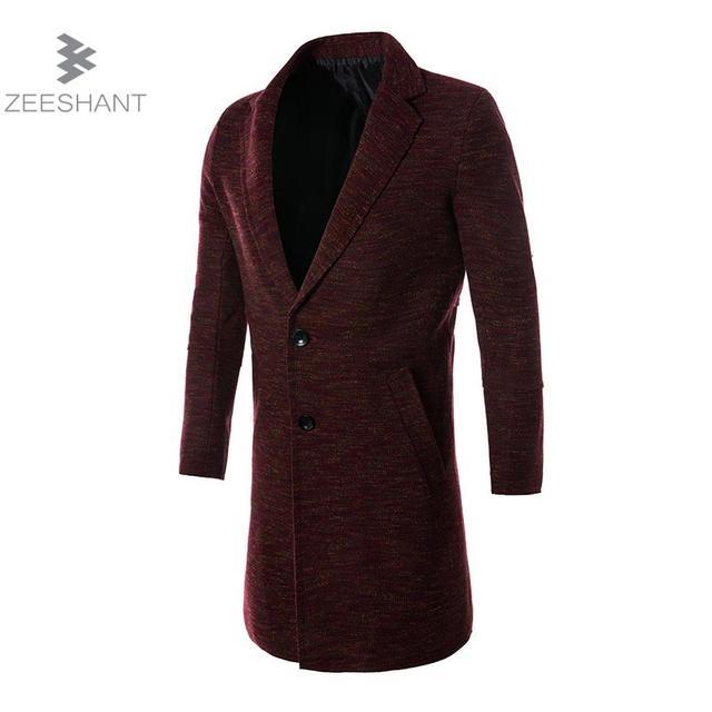 Zeeshant 2017 Autumn Long Pea Coats Men Good Quality Single Button ...