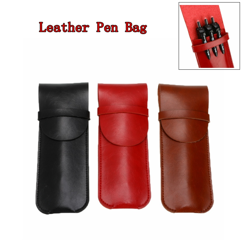 1pcs Leather Cowhide Fountain Pencil Bag Handmade Genuine Pen Cases Cover Sleeve Pouch Office School Students Supplies