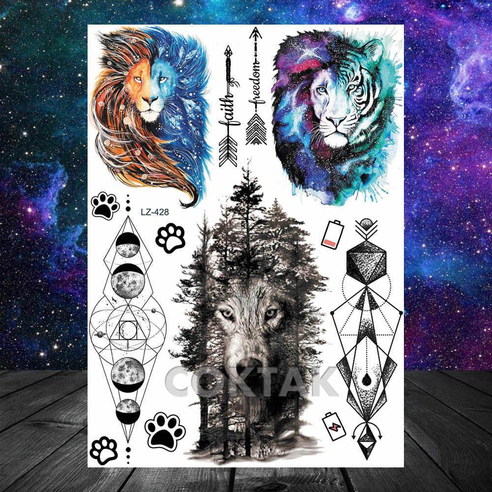 Yaratıcı ay geometrik aslan geçici dövmeler çocuklar çocuklar için astronot yıldız ağacı ok siyah sahte moda dövmeler çıkartmalar