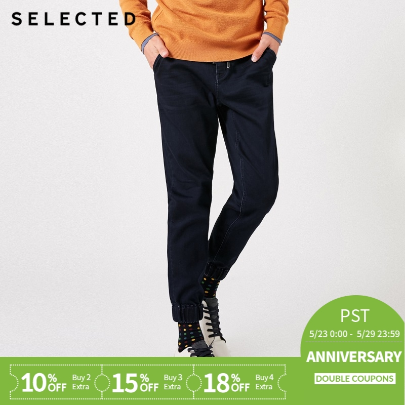 SELECTED Men's Winter Slight Stretch Belt Fading   Jeans   C|419132517
