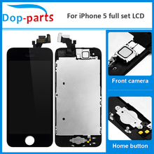 100Pcs Wholesale Price LCD For iPhone 5 Display home button + front camera Touch Screen Digitizer Assembly Replacement Parts