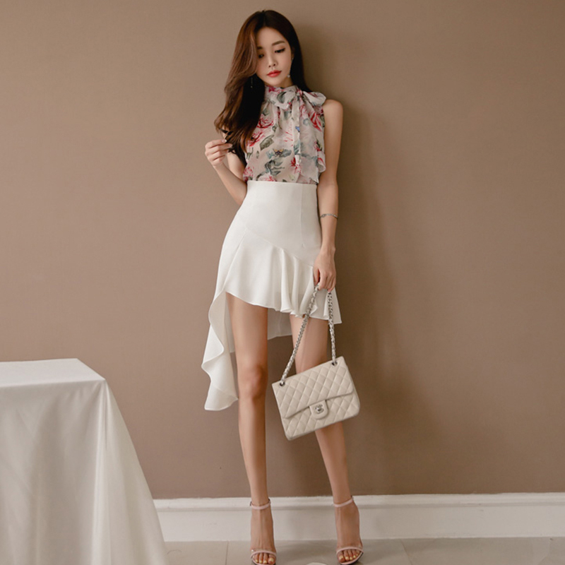 New Arrival Women Temperament Perspective Sexy Chiffon Basic Shirt Comfortable Skirt Fashion High Quality Work Style Women Set