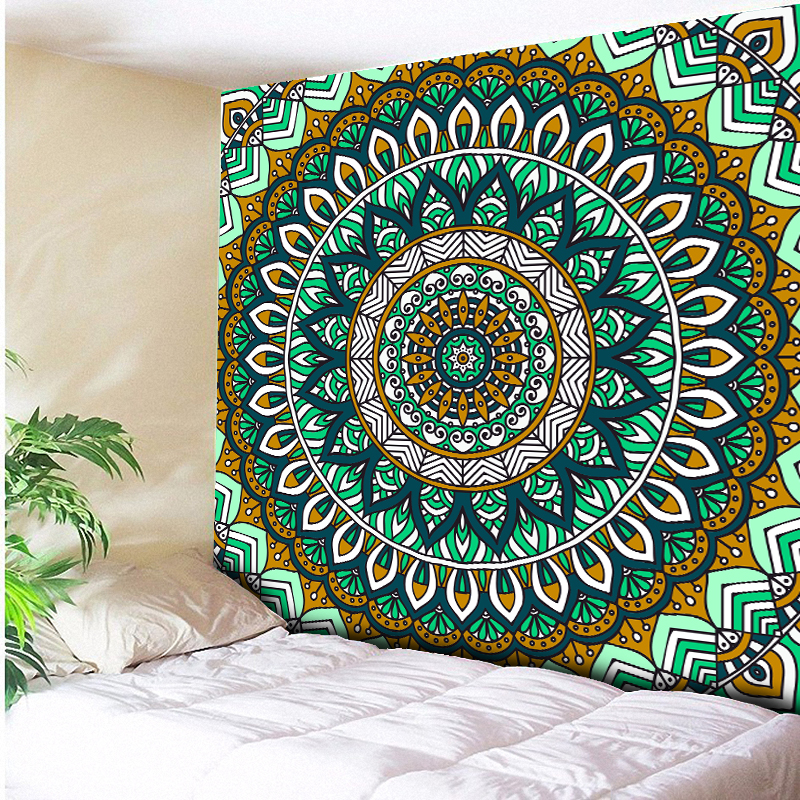 Royal Blue/Mint Green Mandala Tapestry Psychedelic Wall Hanging Bohemian Tapisserie Murale Indian Floral Wall Carpet Beach Towel