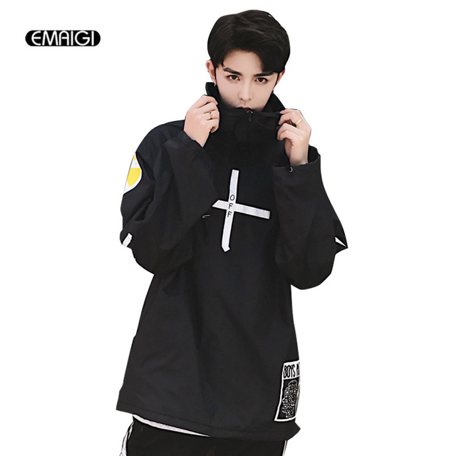 High Street Loose Men Women Pullover Thin Hooded Jacket Fashion Printing Hip Hop Male Casual Coat Outerwear