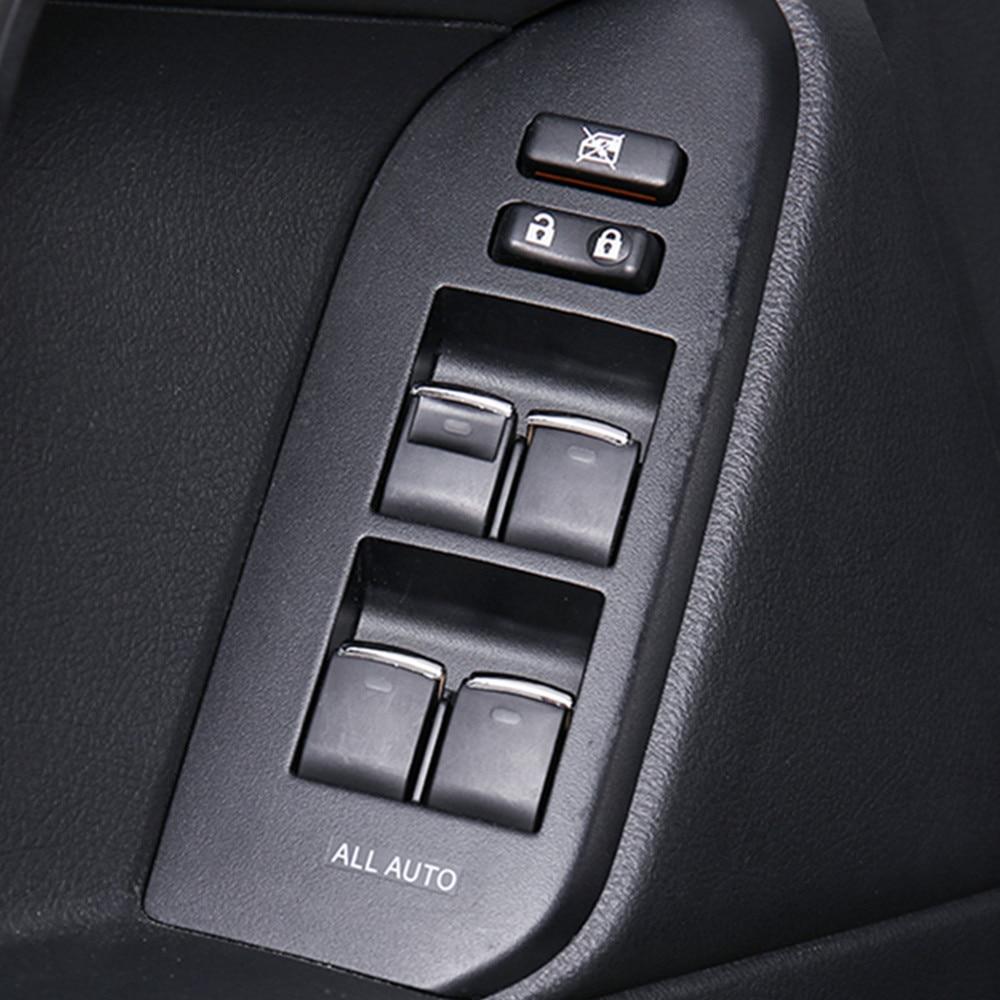 7PCS ABS Window Lift Switch Button Sequin Trim For Toyota Prado FJ150 2010-2018