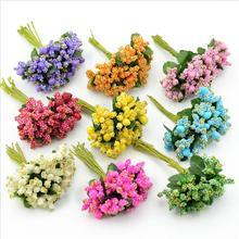 Flower Bouquet Stamen Wreath-Craft Scrapbooking Silk Wedding-Decoration Artificial 12pcs